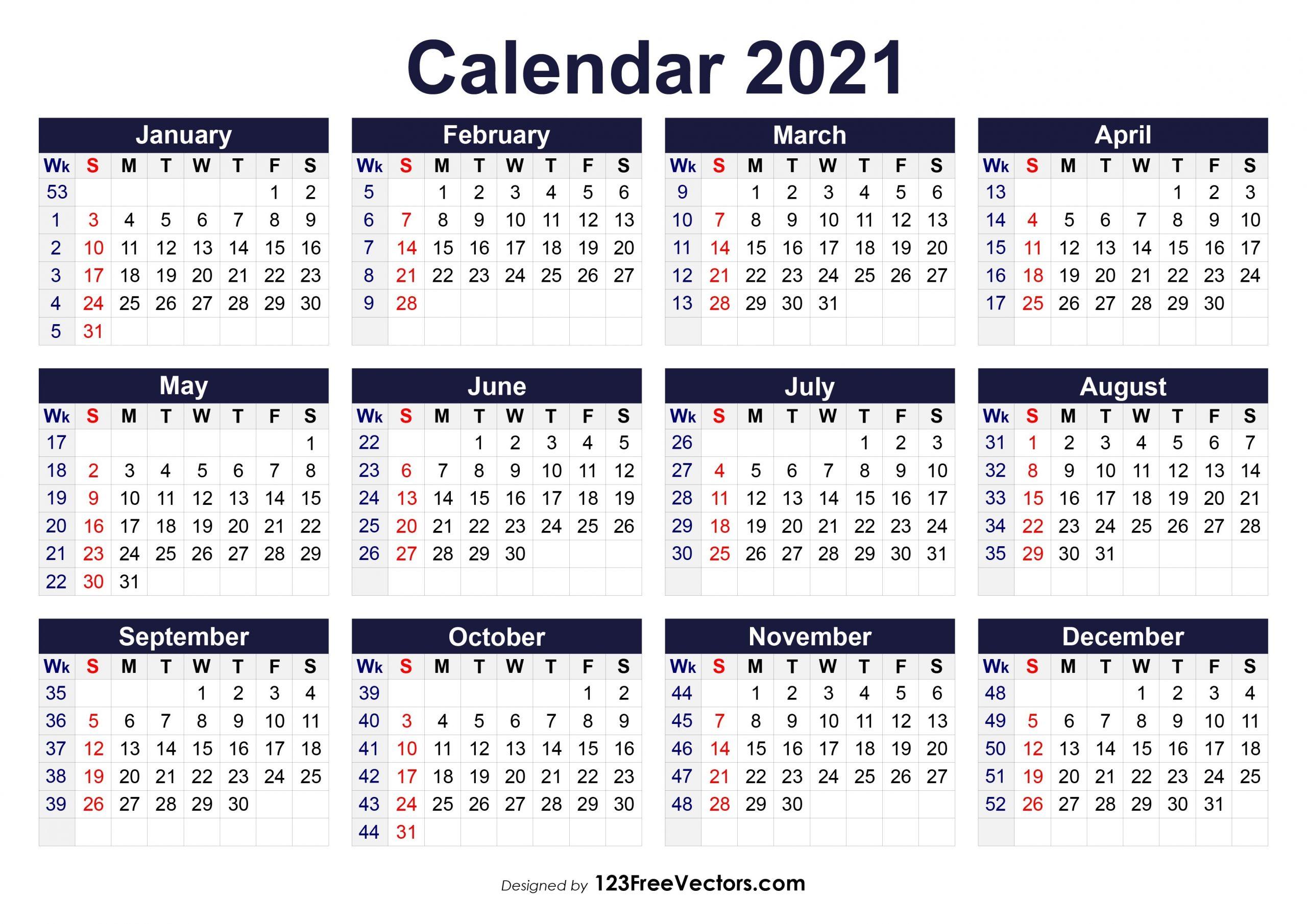 Free Printable 2021 Calendar With Week Numbers  2021 Calendar Weeks Numbered