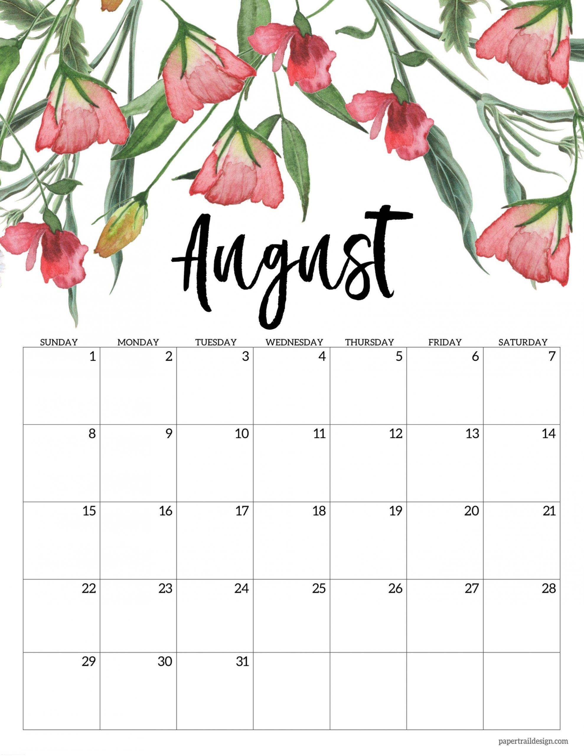 Free Printable 2021 Floral Calendar | Paper Trail Design  Calendar 2021 August To December