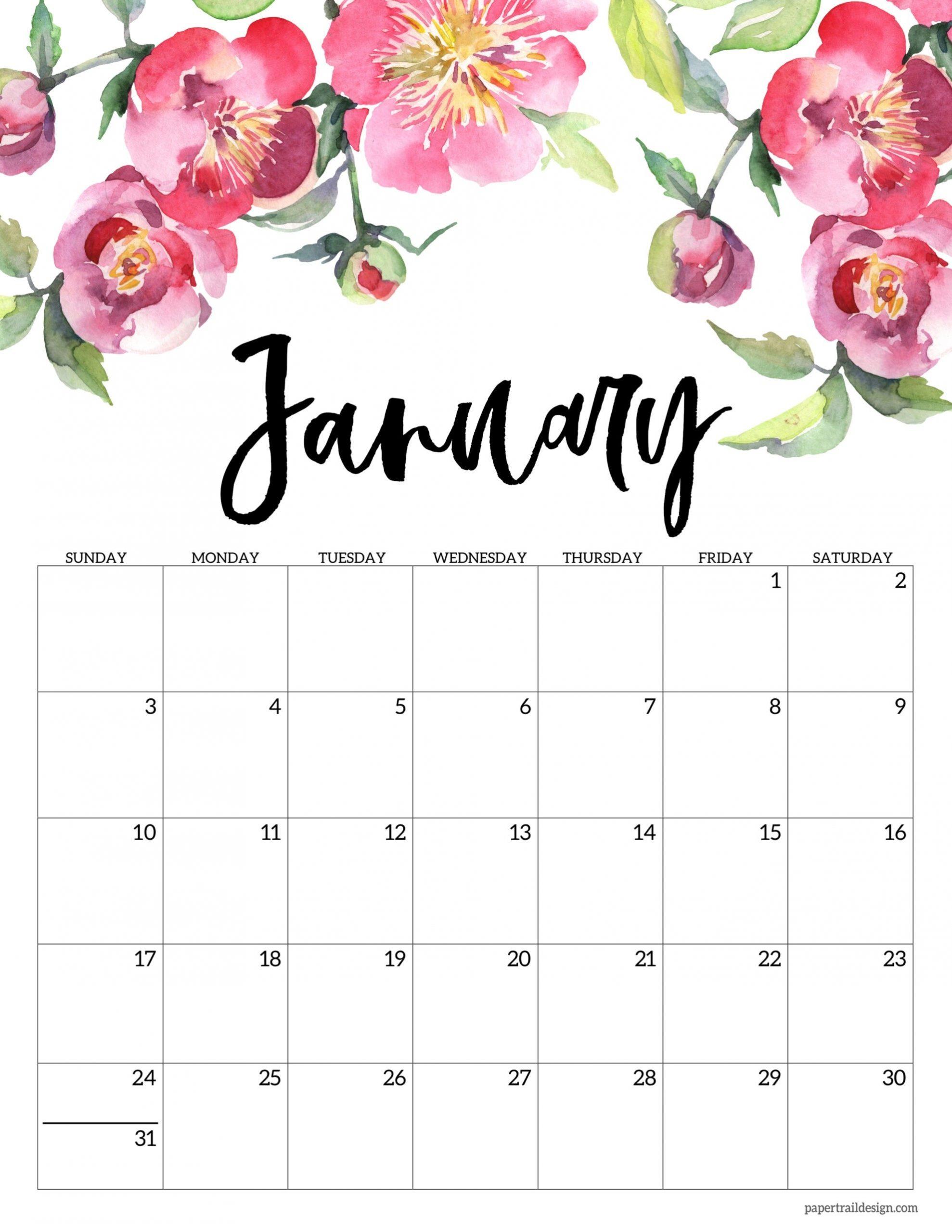 Free Printable 2021 Floral Calendar | Paper Trail Design  Girly Monthly Calendar Printable 2021