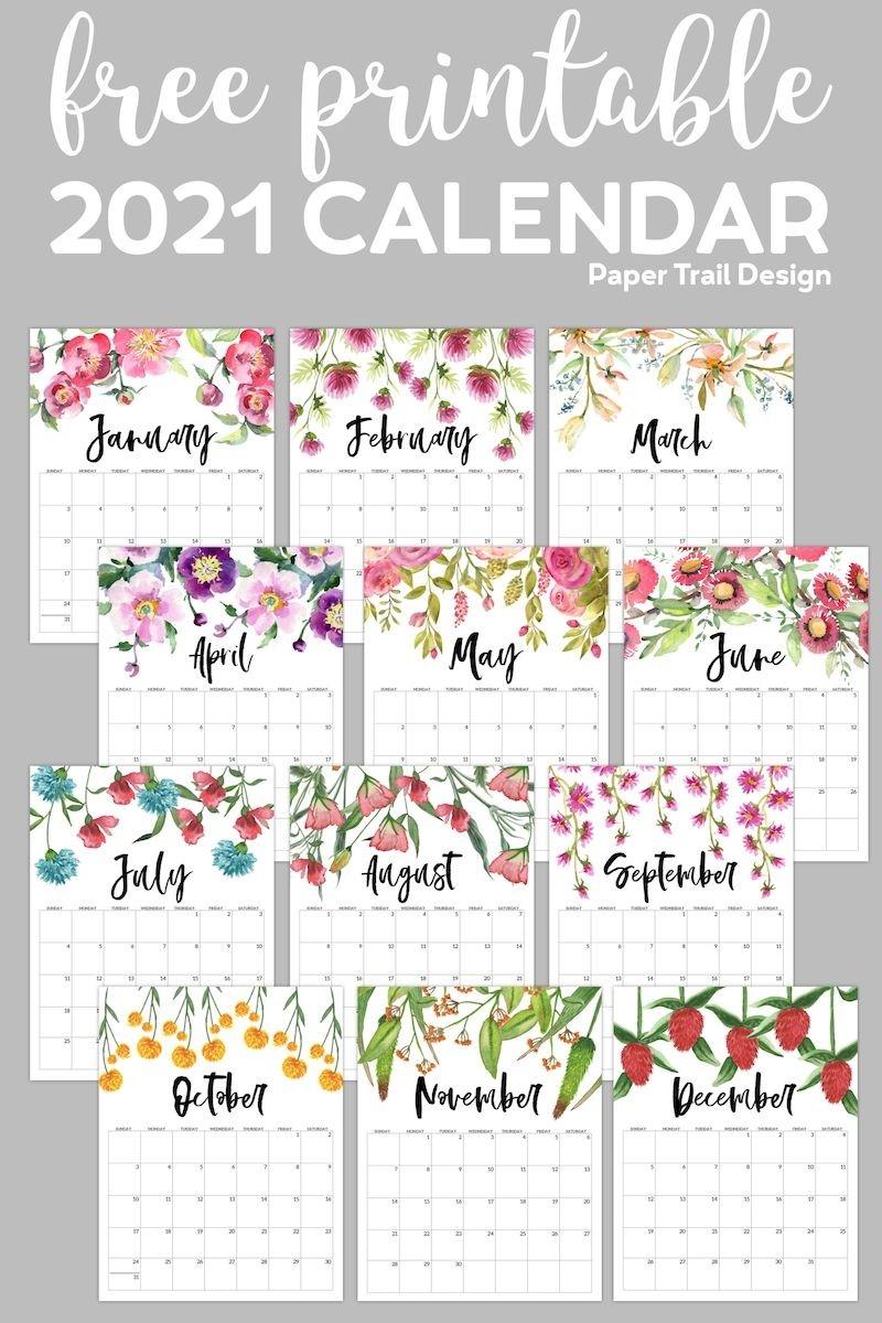 Free Printable 2021 Floral Calendar | Paper Trail Design In  2021 Calendar Printable Free A3