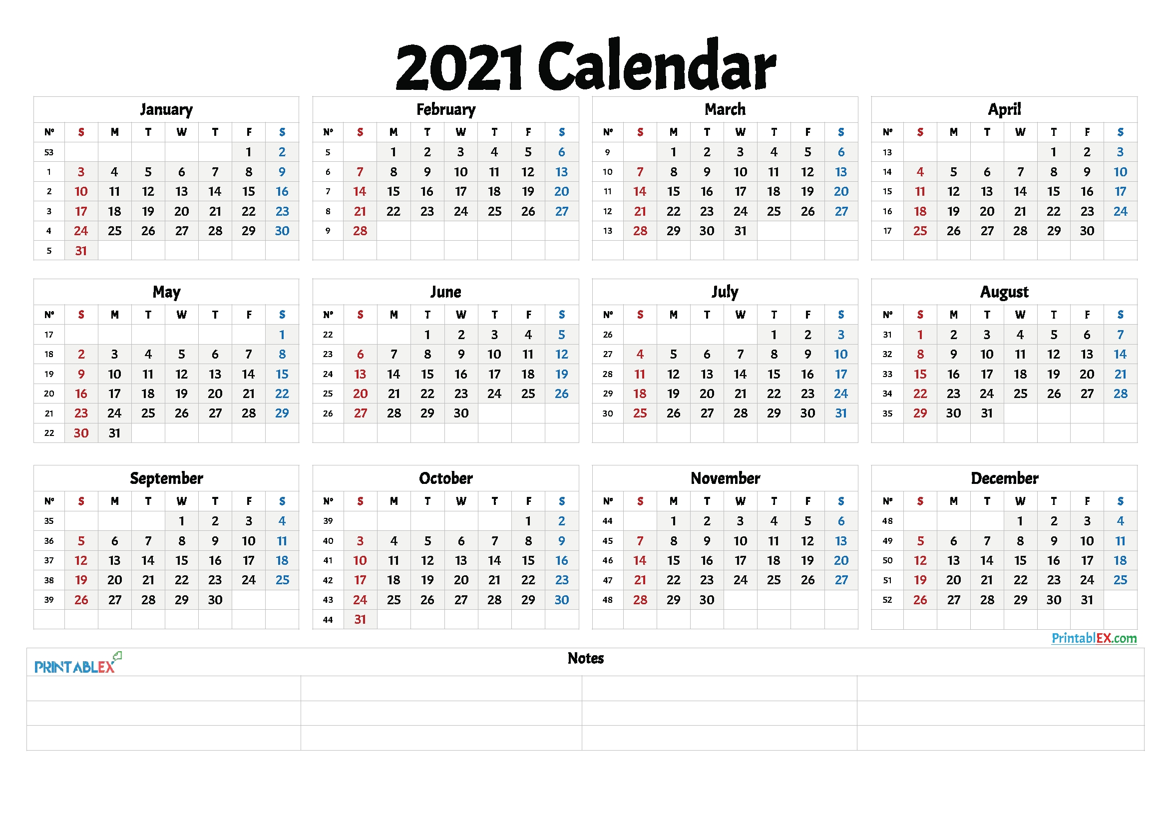 Free Printable 2021 Yearly Calendar With Week Numbers  2021 Calendar Free Printable Bills