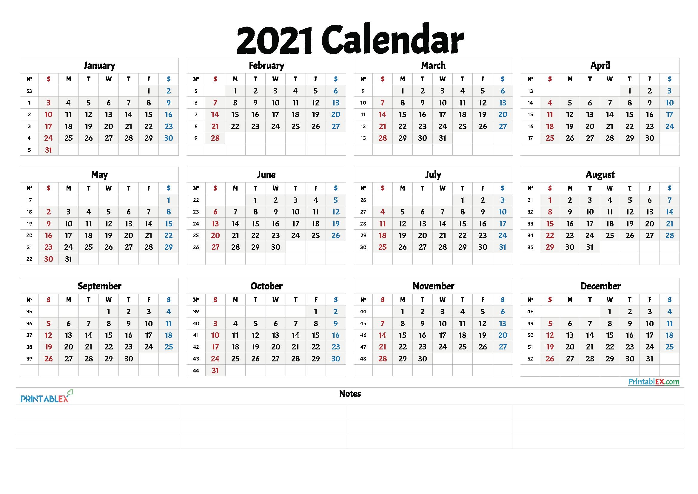 Free Printable 2021 Yearly Calendar With Week Numbers  2021 Calendar Weeks Numbered