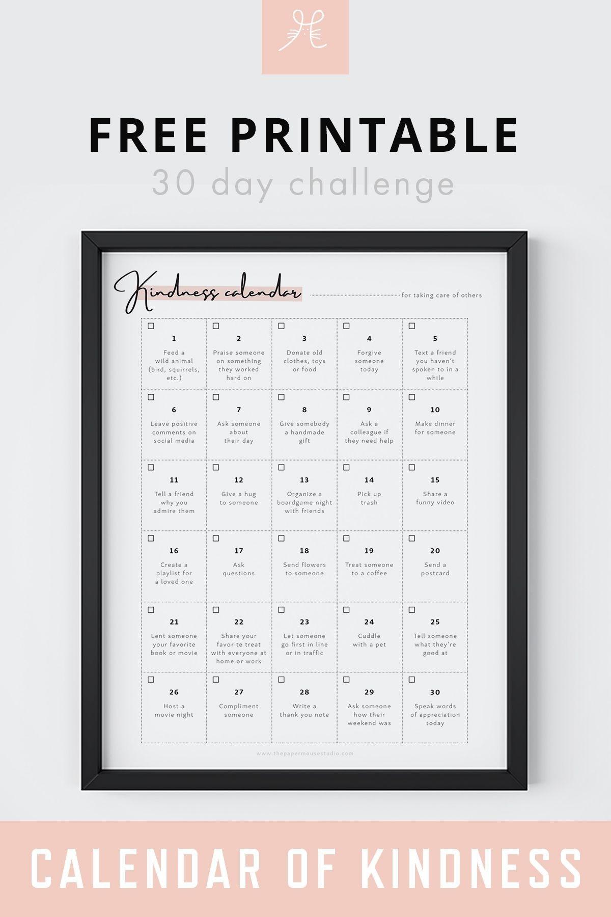 Free Printable 30 Day Challenge Calendar Of Kindness  Printable 30 Day Challenge Blank Calendar