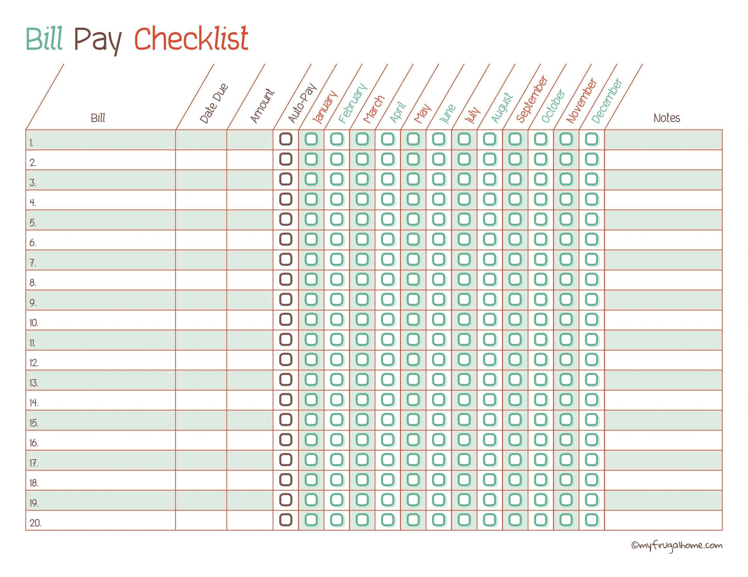 Free Printable Bill Pay Calendar Templates  Bill Paying Worksheet Pdf