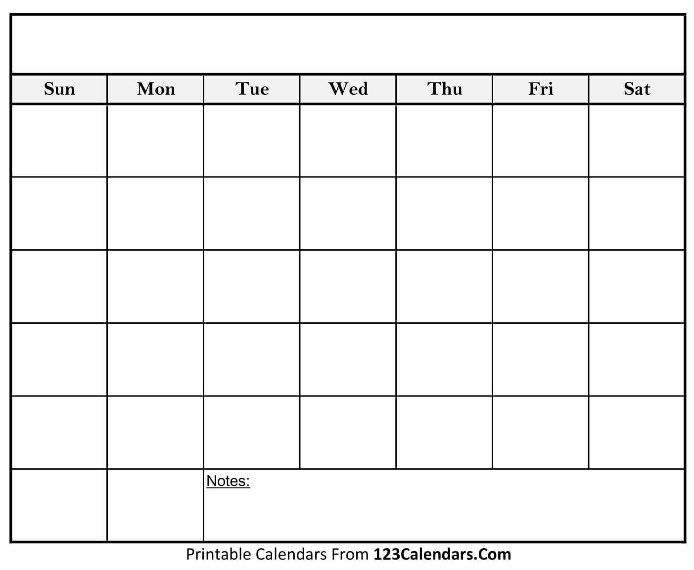 Free Printable Blank Calendar | 123Calendars  Printable Full Page Blank Calendar Template
