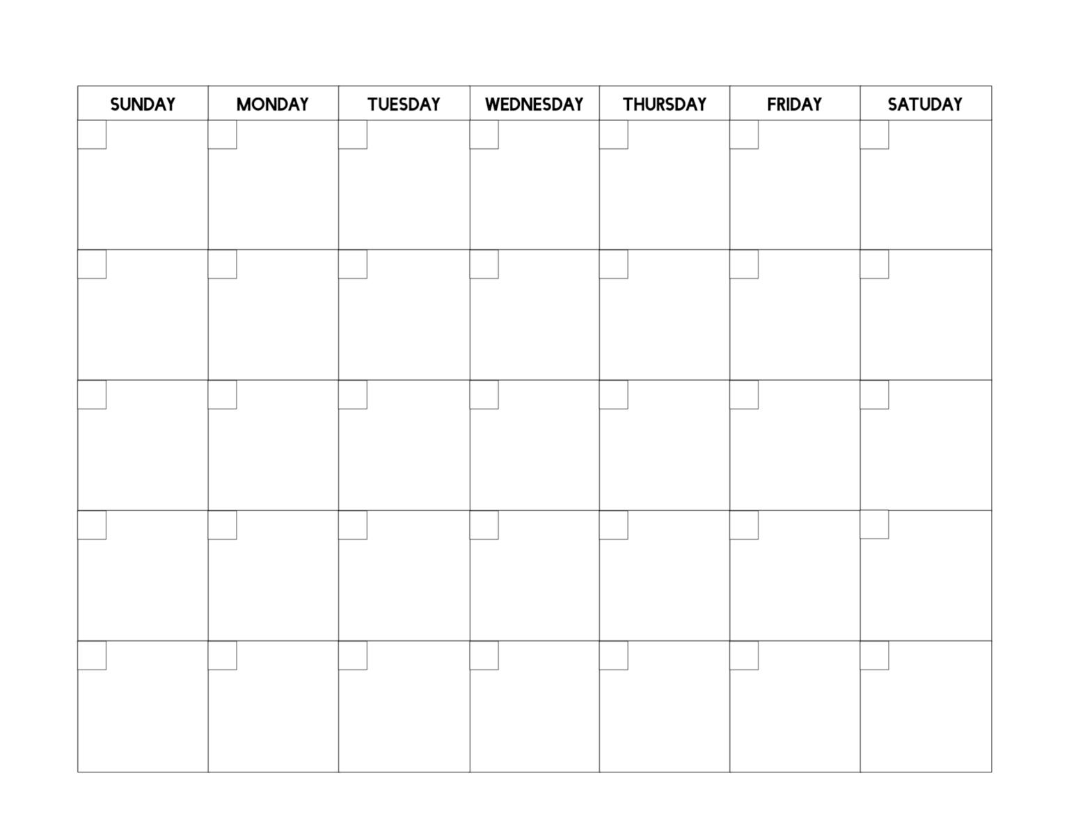 Free Printable Blank Calendar Templates - Dalep.midnightpig  Printable Full Page Blank Calendar Template