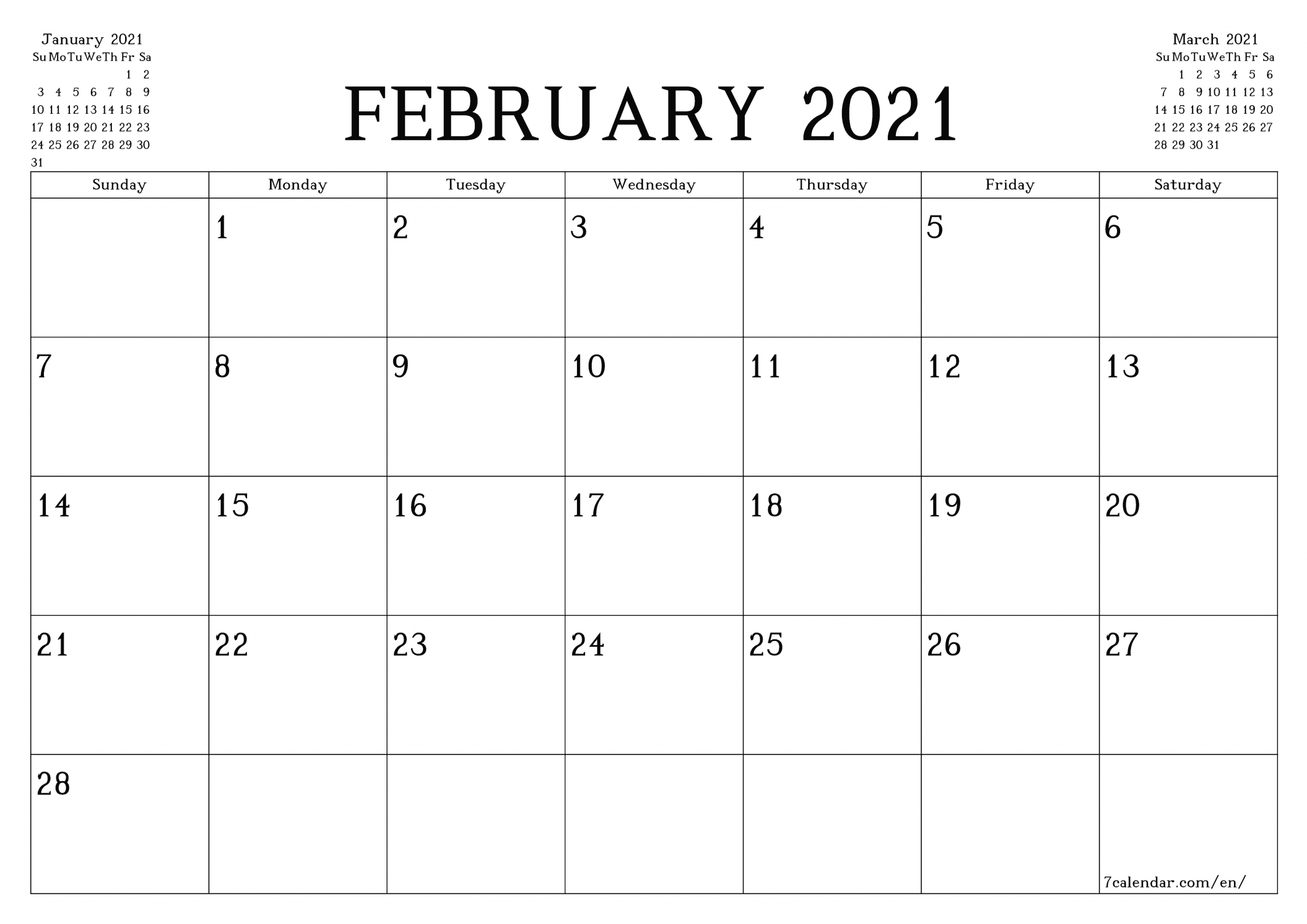 Free Printable Blank Monthly Calendar And Planner For  2021 Calendar Printable Free A3