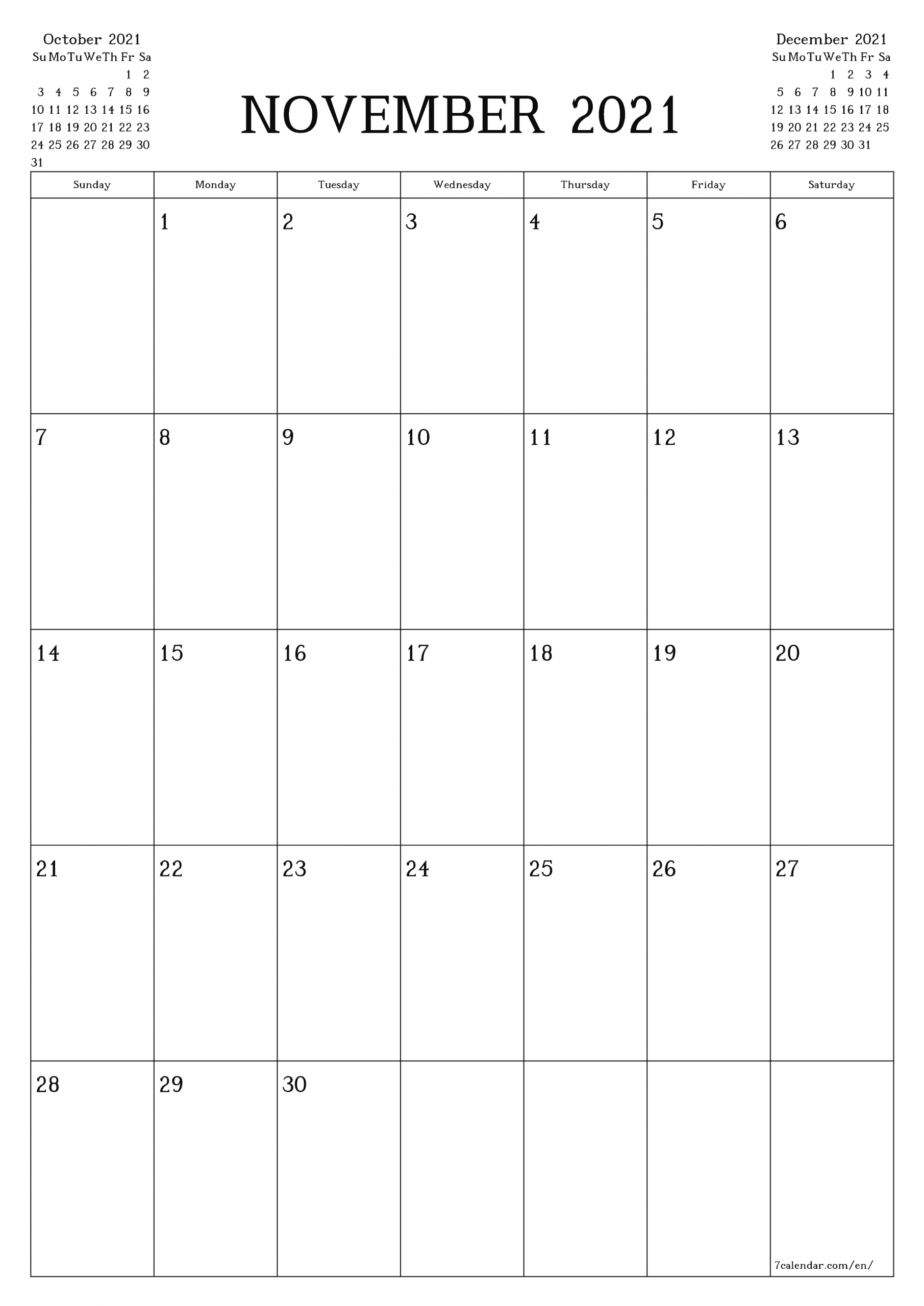 Free Printable Blank Monthly Calendar And Planner For  A3 Calendar 2021
