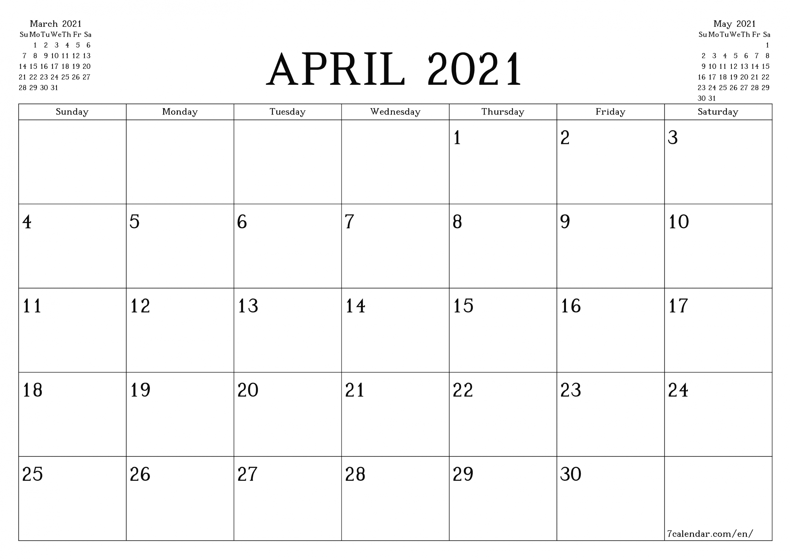 Free Printable Blank Monthly Calendar And Planner For April  2021 Calendar Printable Free A3