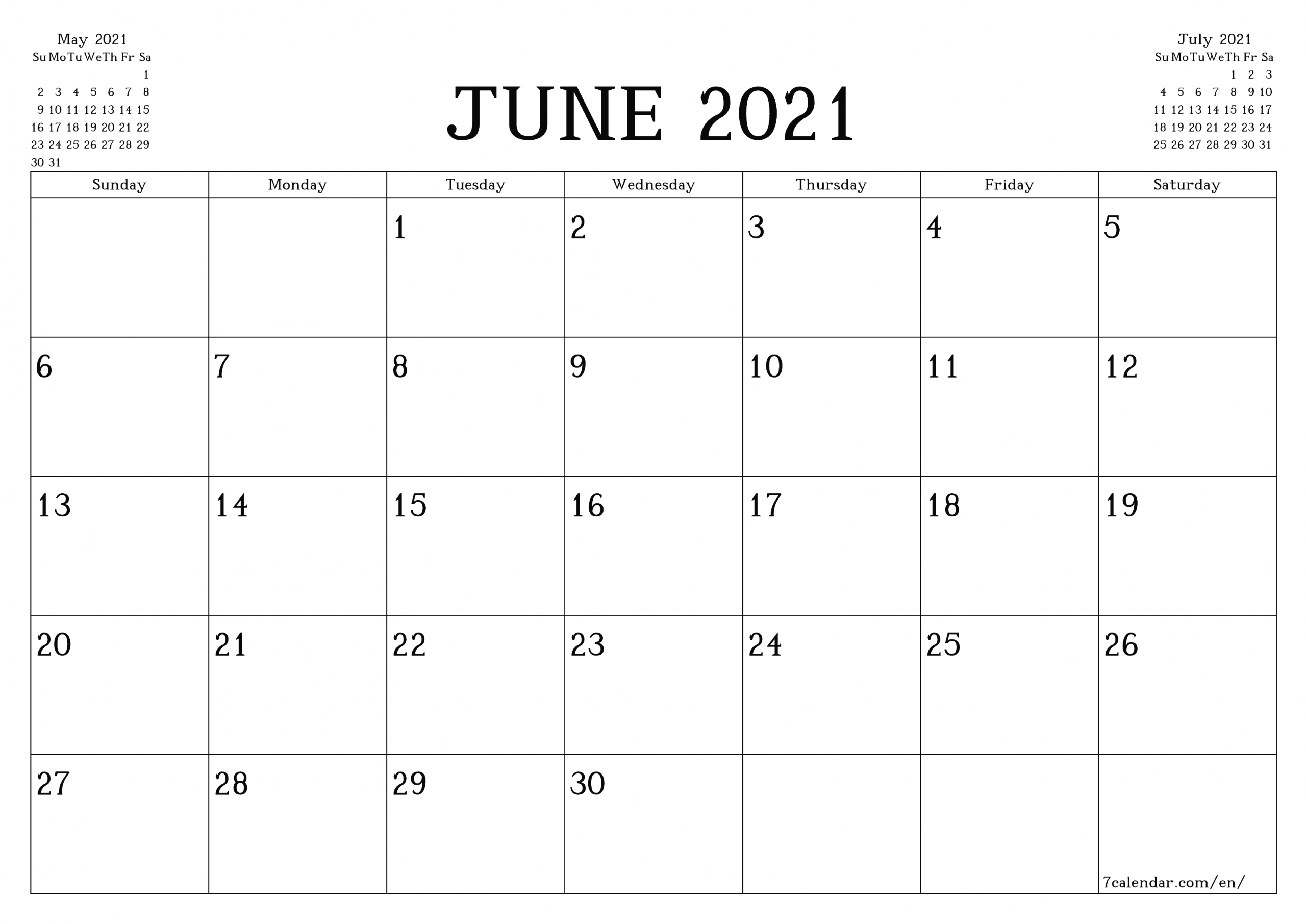 Free Printable Blank Monthly Calendar And Planner For June  Monthly Payment Sheet June, 2021