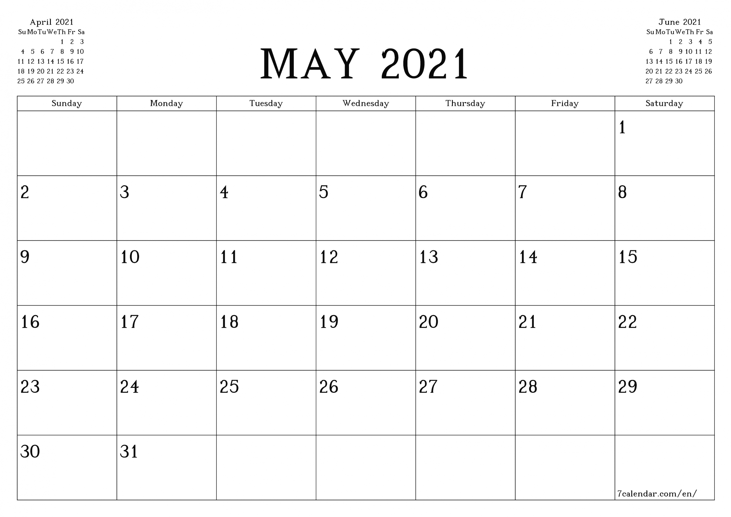 Free Printable Blank Monthly Calendar And Planner For May  A3 Calendar 2021