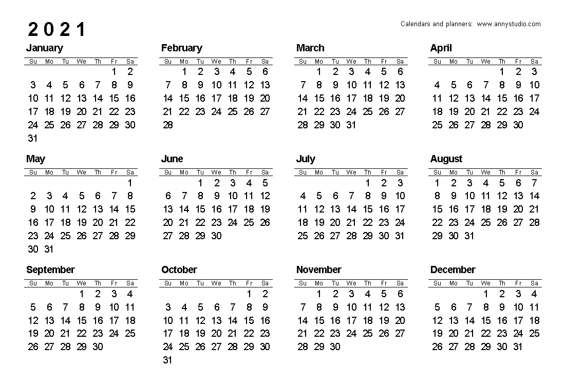 Free Printable Calendars And Planners 2021, 2022 And 2023  2021 Calendar Printable Free A3