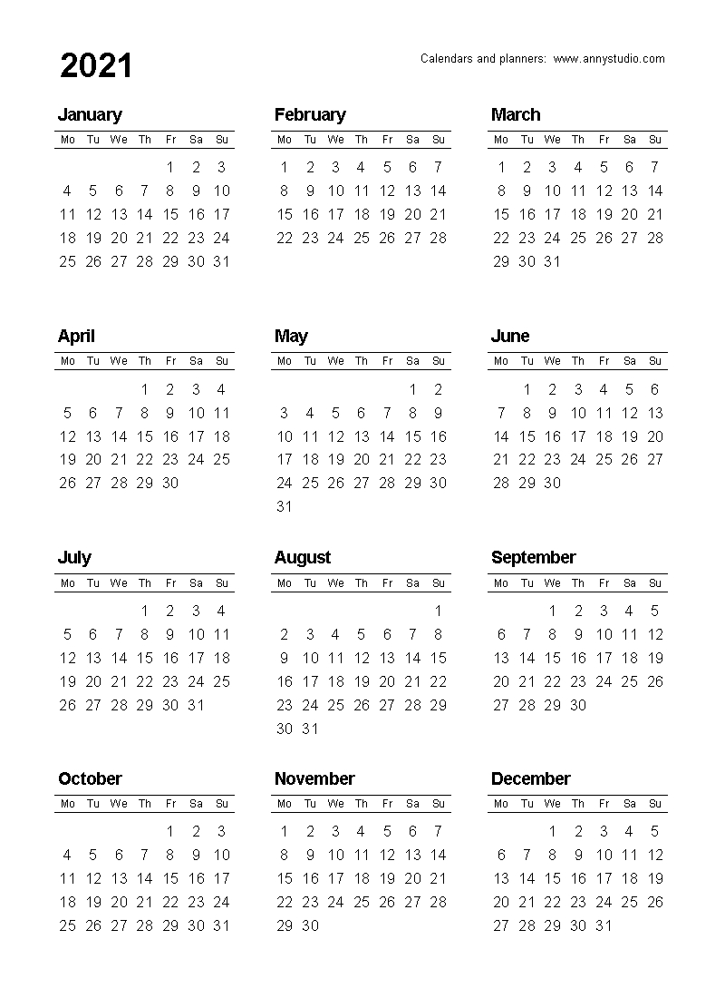 Free Printable Calendars And Planners 2021, 2022 And 2023  2021 Yearly Calendar Free Pdf Printable
