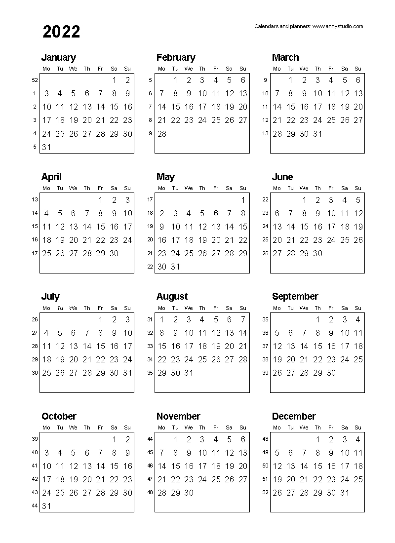Free Printable Calendars And Planners 2021, 2022 And 2023  5 Day Week Printable Calendars 2021