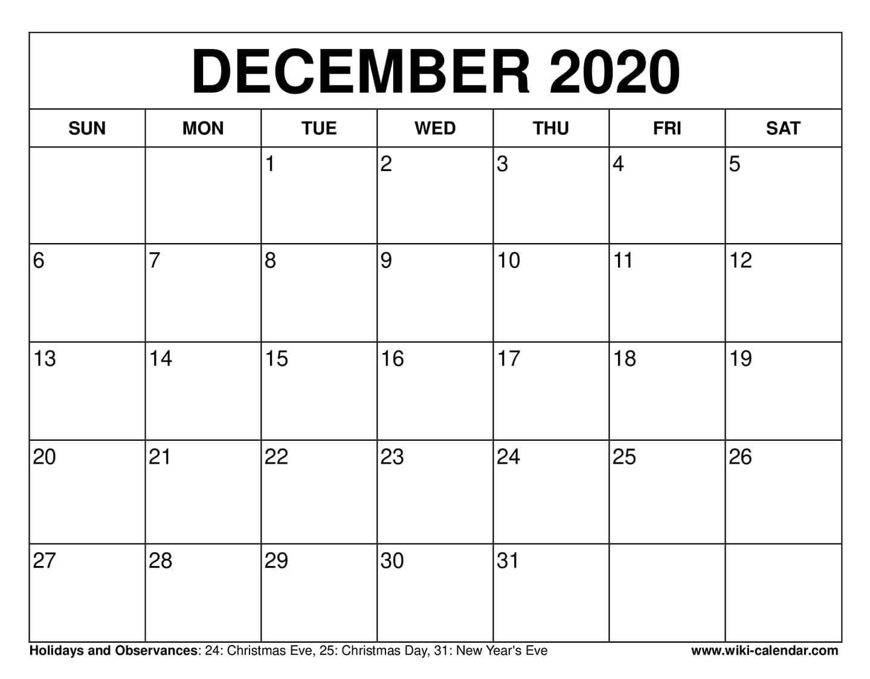 Free Printable December 2020 Calendars  2020 Calendar Printable