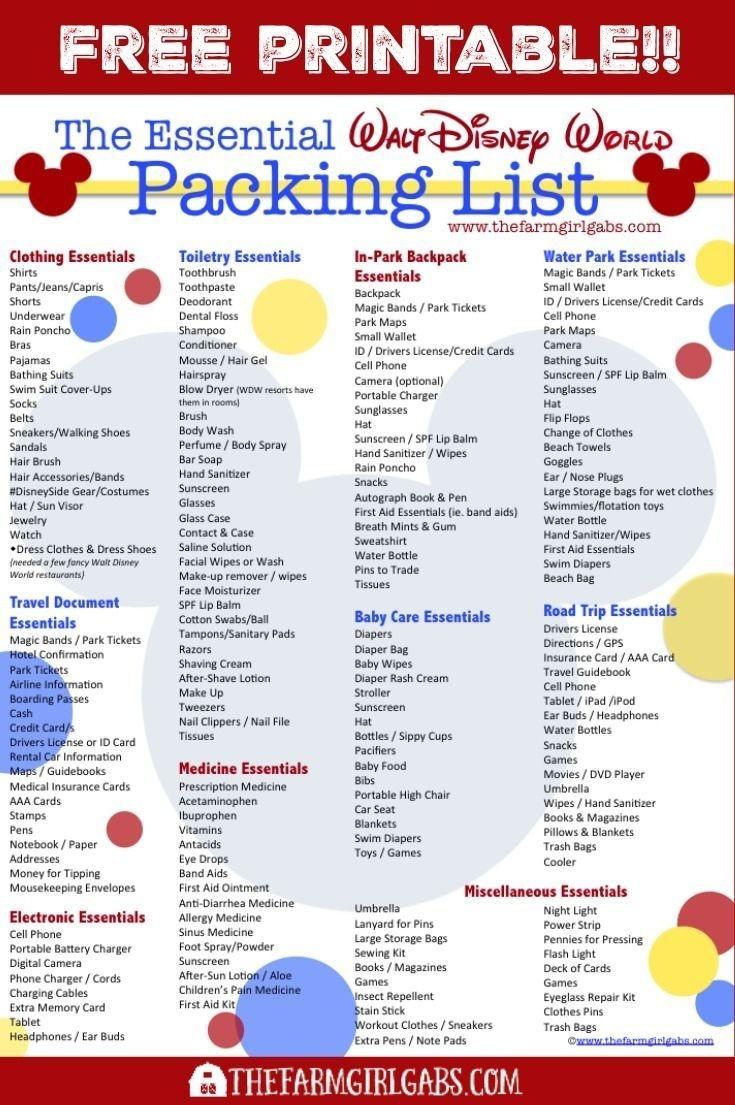 Free Printable Disney Packing List | Disney World Packing  Free Disney World Attraction Checklist 2021