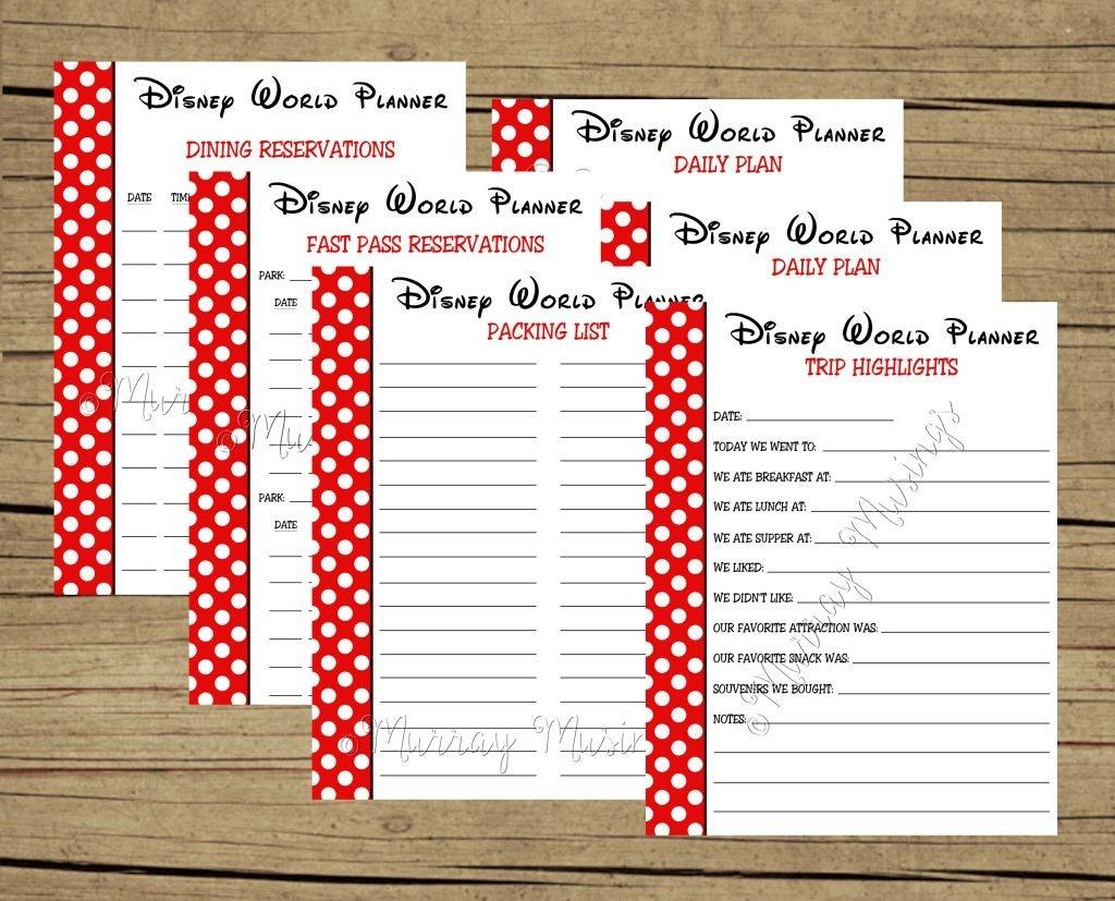 Free Printable Disney World Vacation Planner #Freeprintable  Free Disney World Itinerary Template