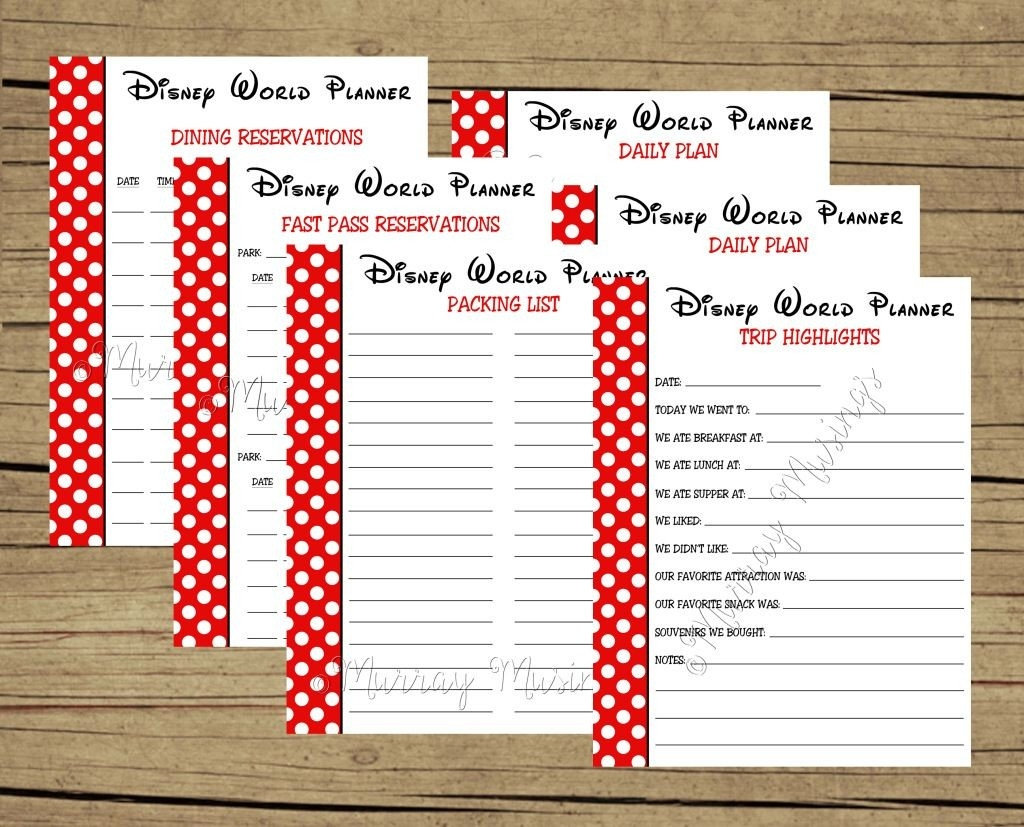Free Printable Disney World Vacation Planner #Freeprintable  Printable Disney World Weekly Planning Sheets