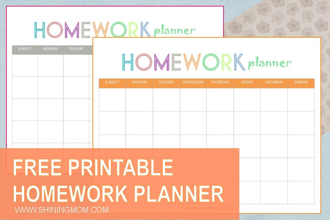 Free Printable: Homework Planner  Homework Templates Free