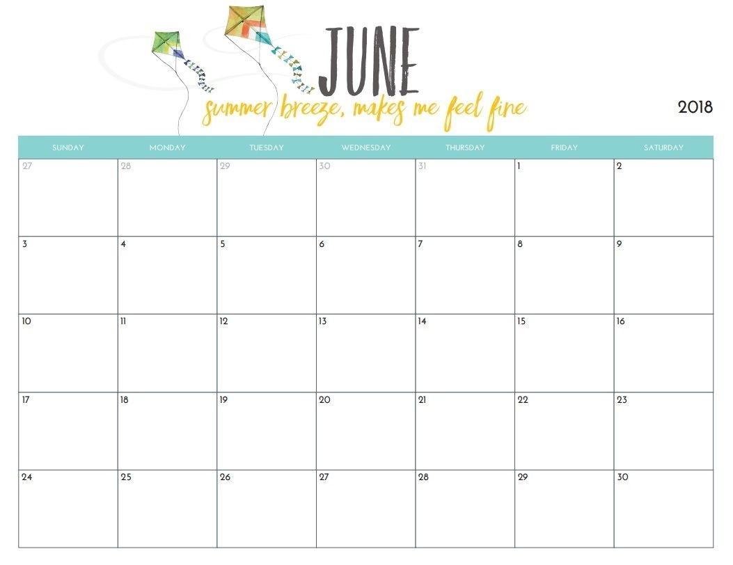 Free Printable June 2018 Monthly Calendar | Print Calendar  Perpetual Monthly Planner June