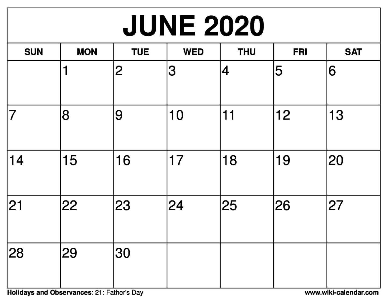 Free Printable June 2020 Calendars  Blank June Calendar 2020