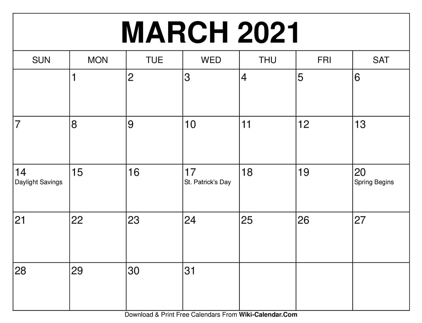 Free Printable March 2021 Calendars  Free Monthly Calendar Printable March 2021