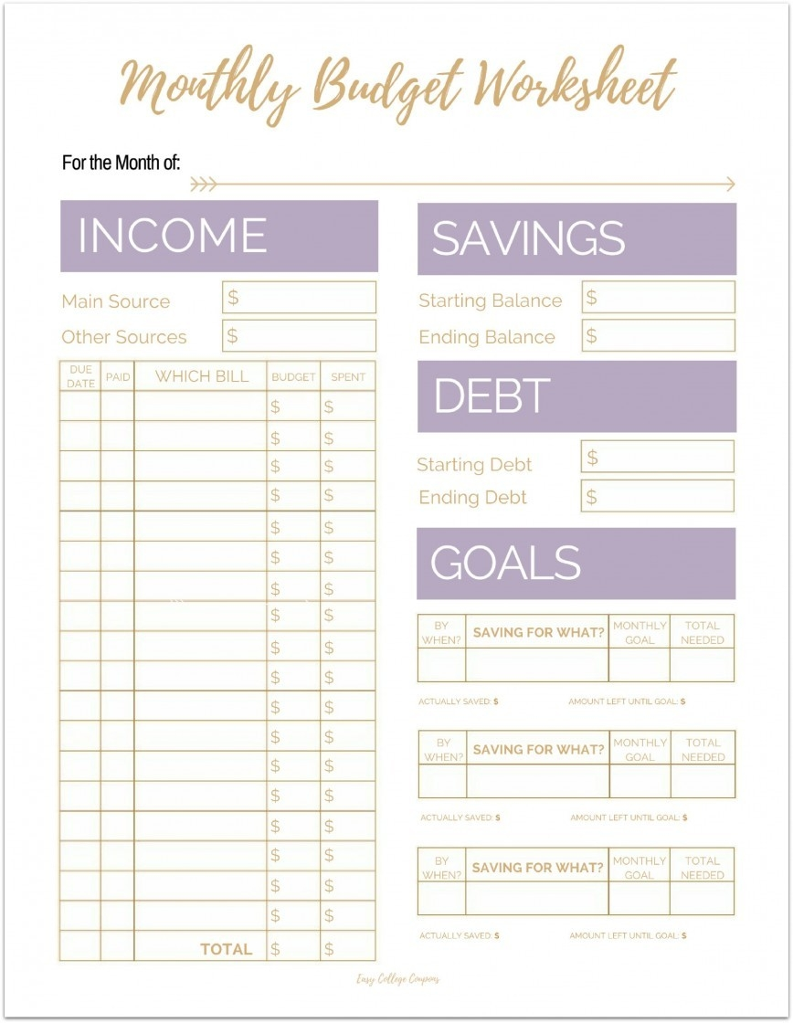 Free Printable Monthly Budget Spreadsheet ~ Addictionary  Free Printable Monthly Bill Sheet