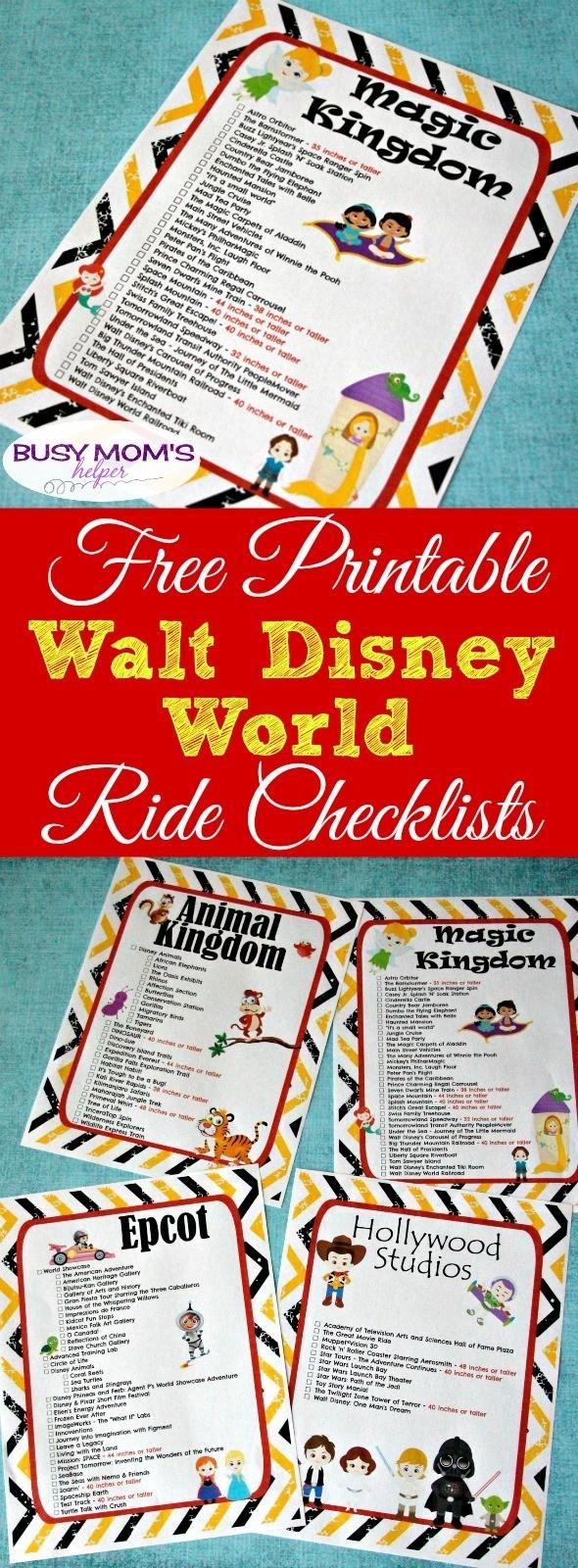 Free Printable Walt Disney World Ride Checklists  Printable Disney World Attractions List