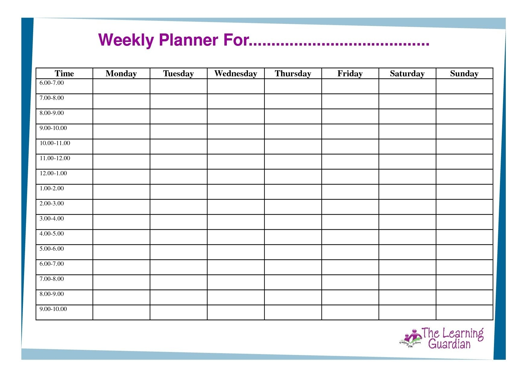 Free Printable Weekly Calendar Templates Planner For Time  7 Day Week Planner Printable
