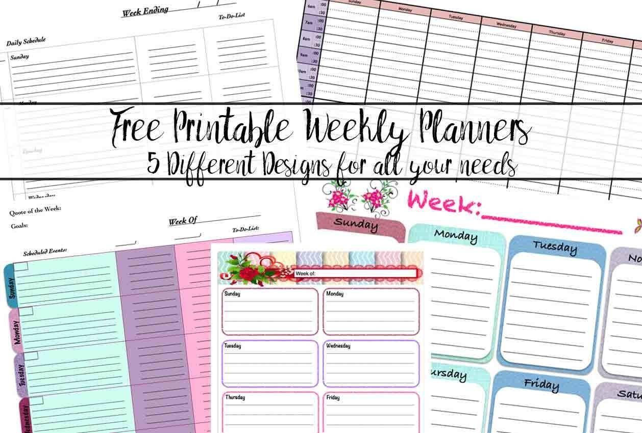 Free Printable Weekly Planners: 5 Designs  7 Day Printable Planner