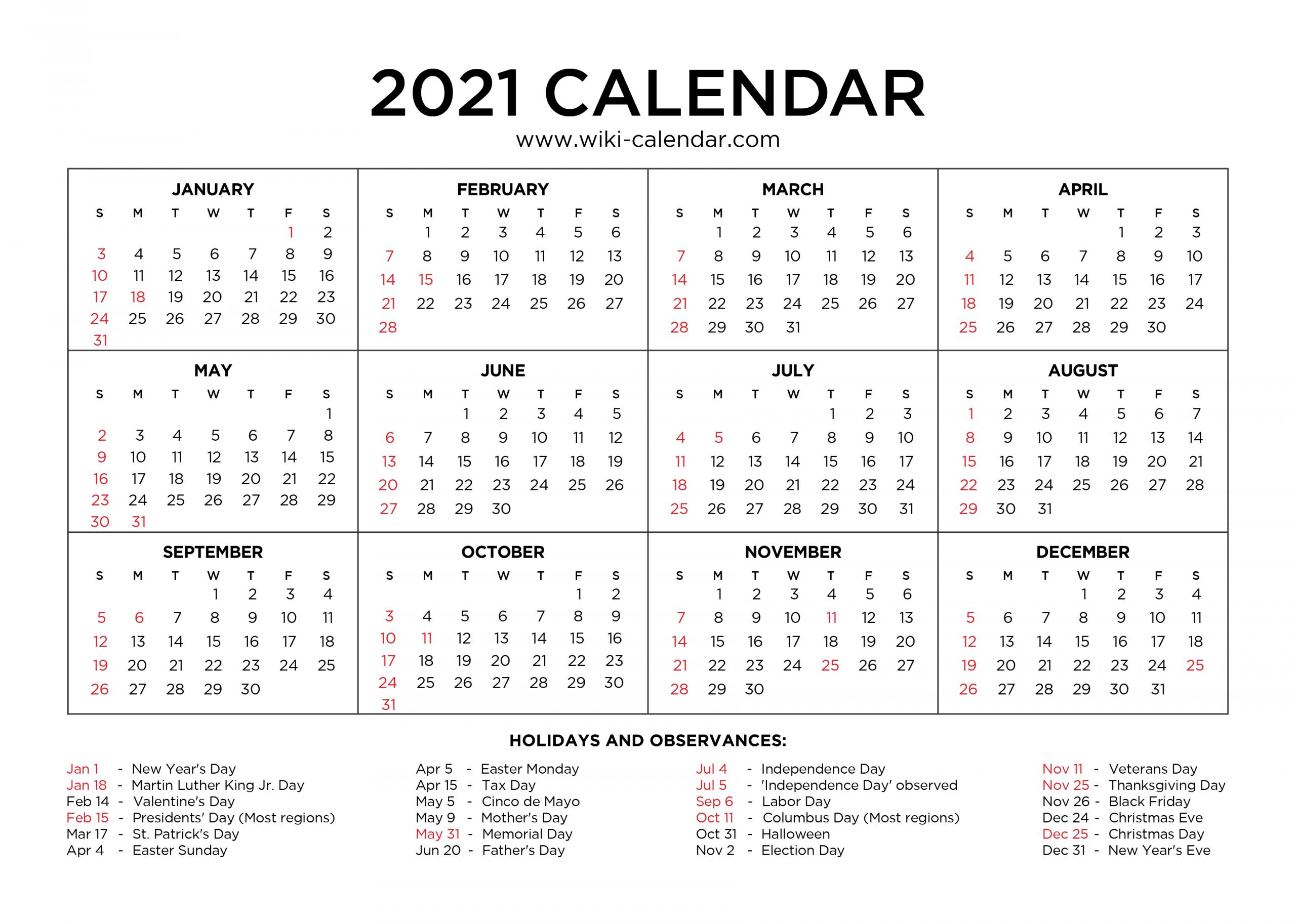 Free Printable Year 2021 Calendar With Holidays  Free 2021 Calendar Printable Free