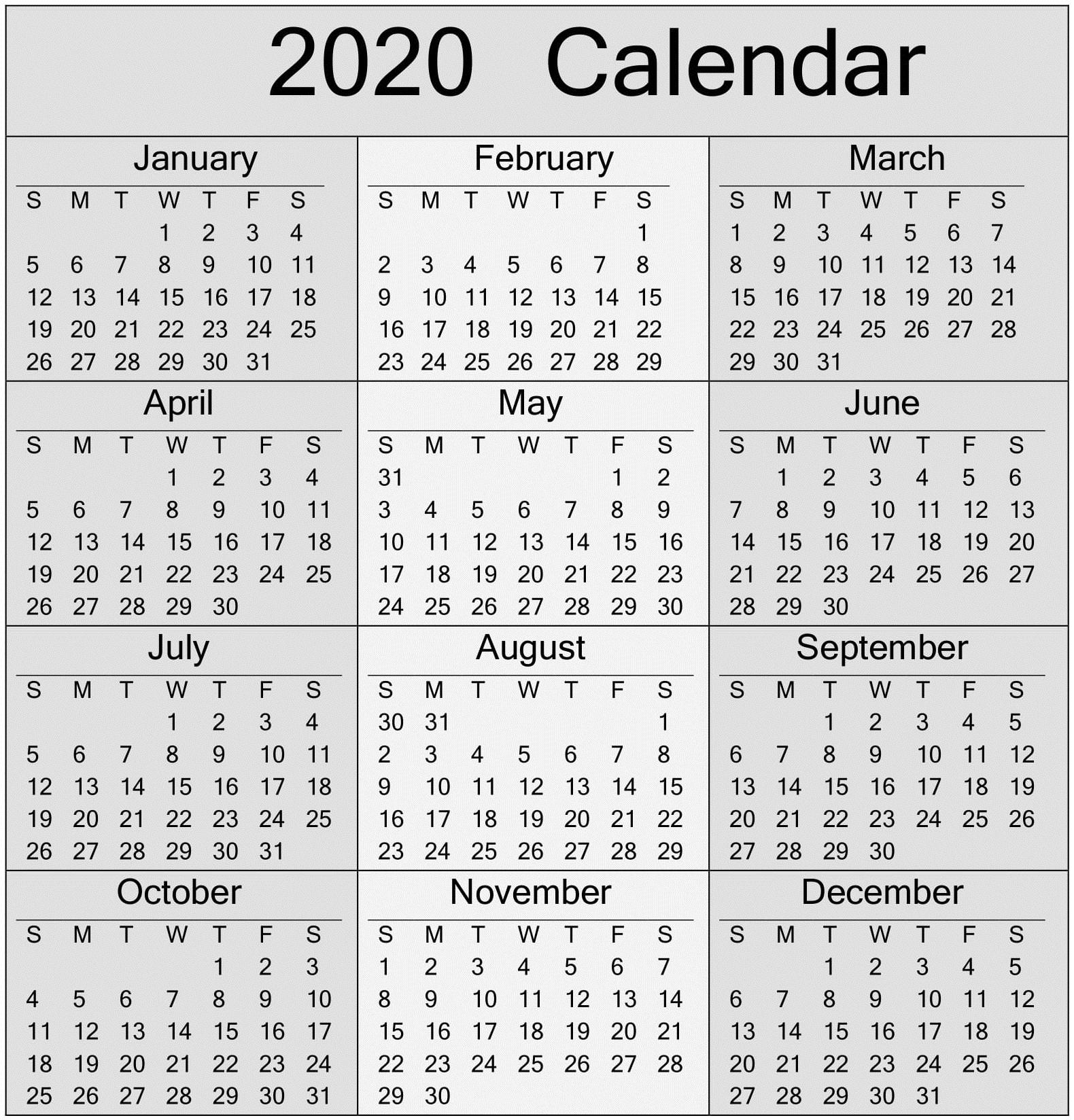 Free Printable Yearly 2020 Calendar And Holiday Templates  2020 Calendar Printable
