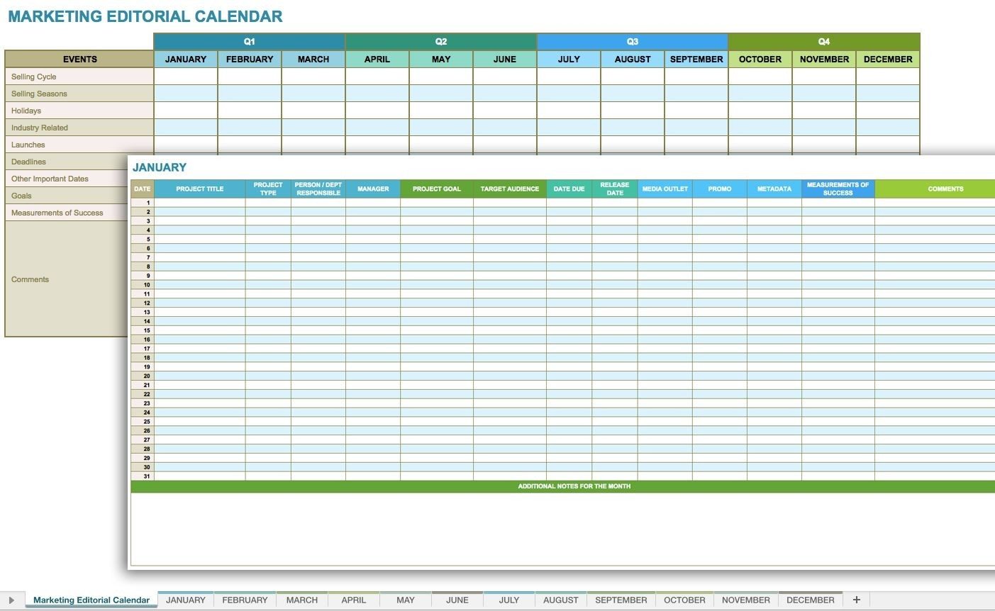 Free Social Media Planning Templates For Excel Via  Social Media Calendar Template Excel Free