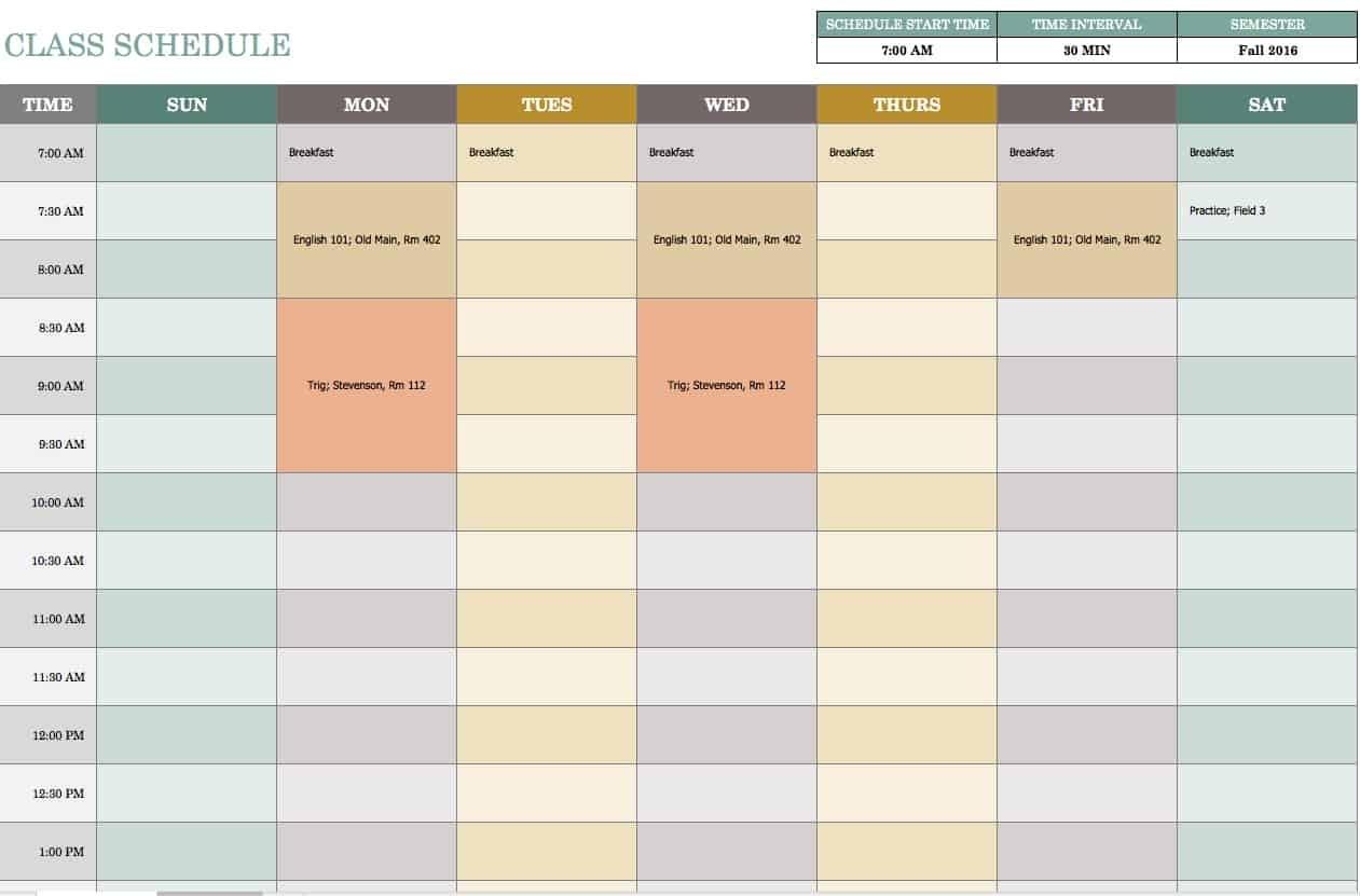 Free Weekly Schedule Templates For Excel - Smartsheet  Excel Weekly Calendar Template