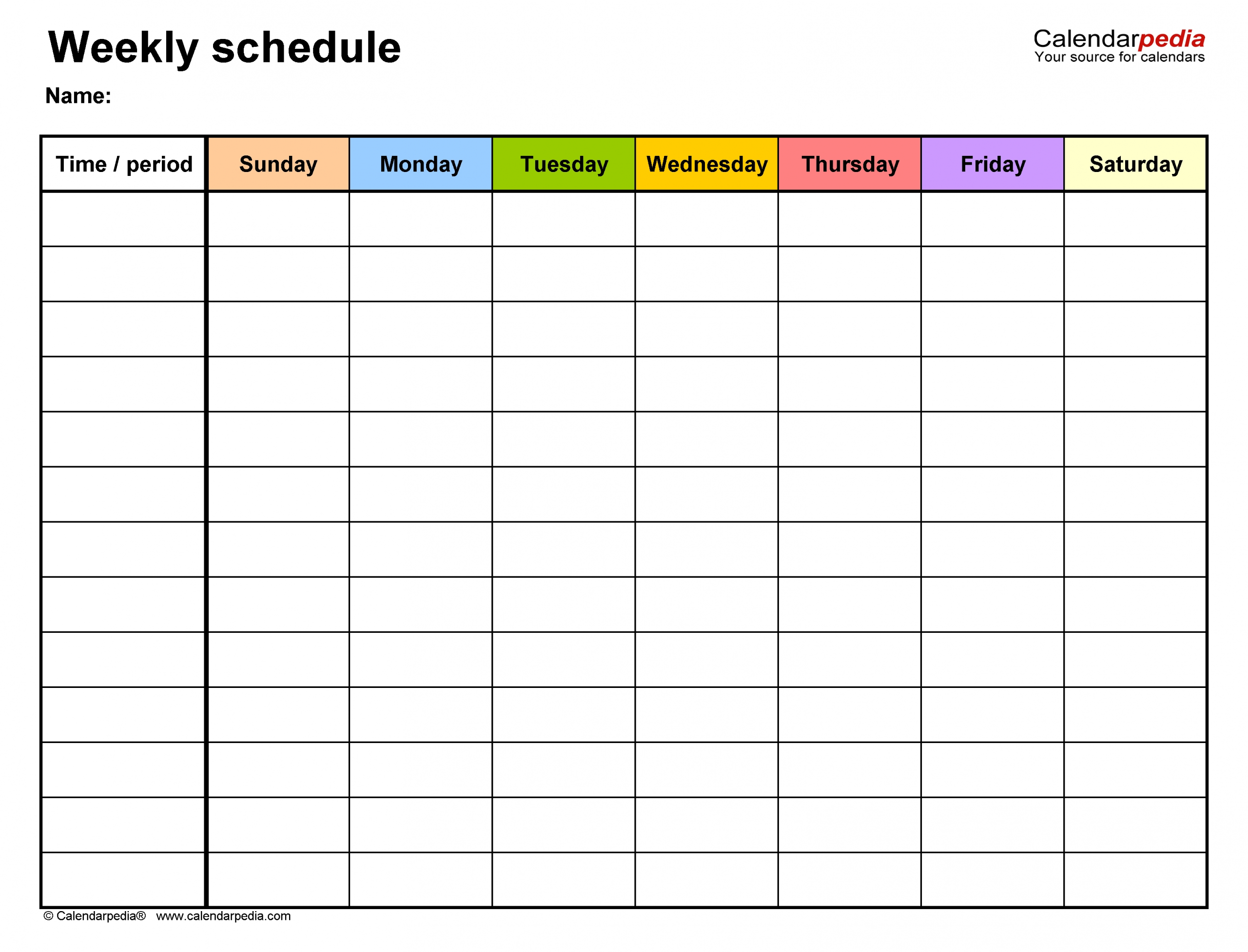 Free Weekly Schedule Templates For Word - 18 Templates  Weekly Planner Printable Day 7