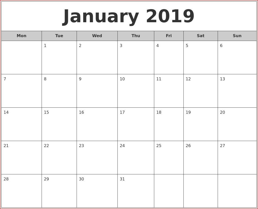 Full Size Printable Monthly Calendars In 2020 | Monthly  Full Size Printable Monthly Calendars