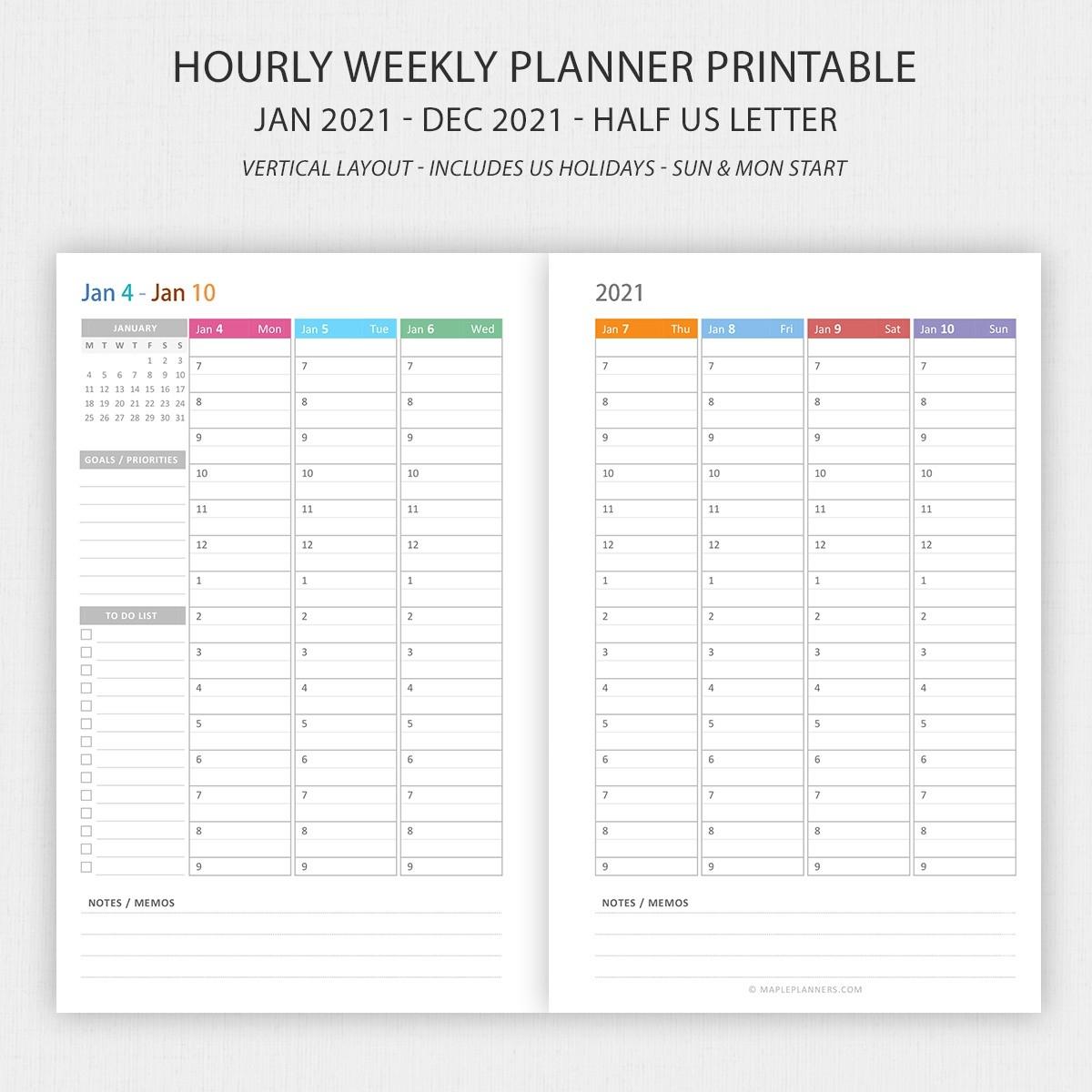 Half Letter Vertical Weekly Planner 2021 Printable  2021 Printable Hourly Calendar