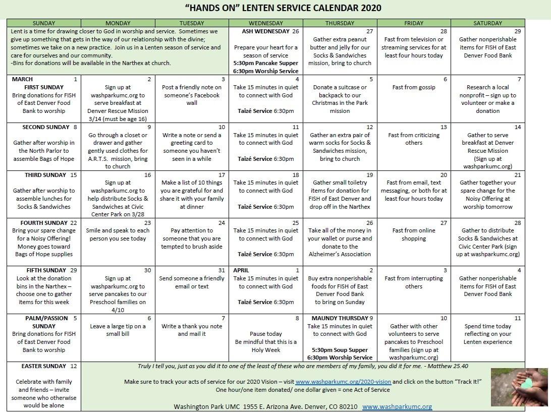 "Hands-On"" Lenten Service Calendar - Washington Park United  Methodist Lent Calendar"