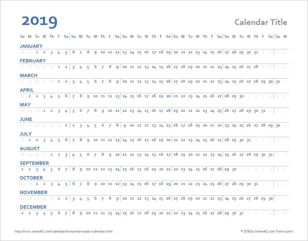 Horizontal Yearly Calendar Templates  Windows 7 Word Horizontal Calendar Template