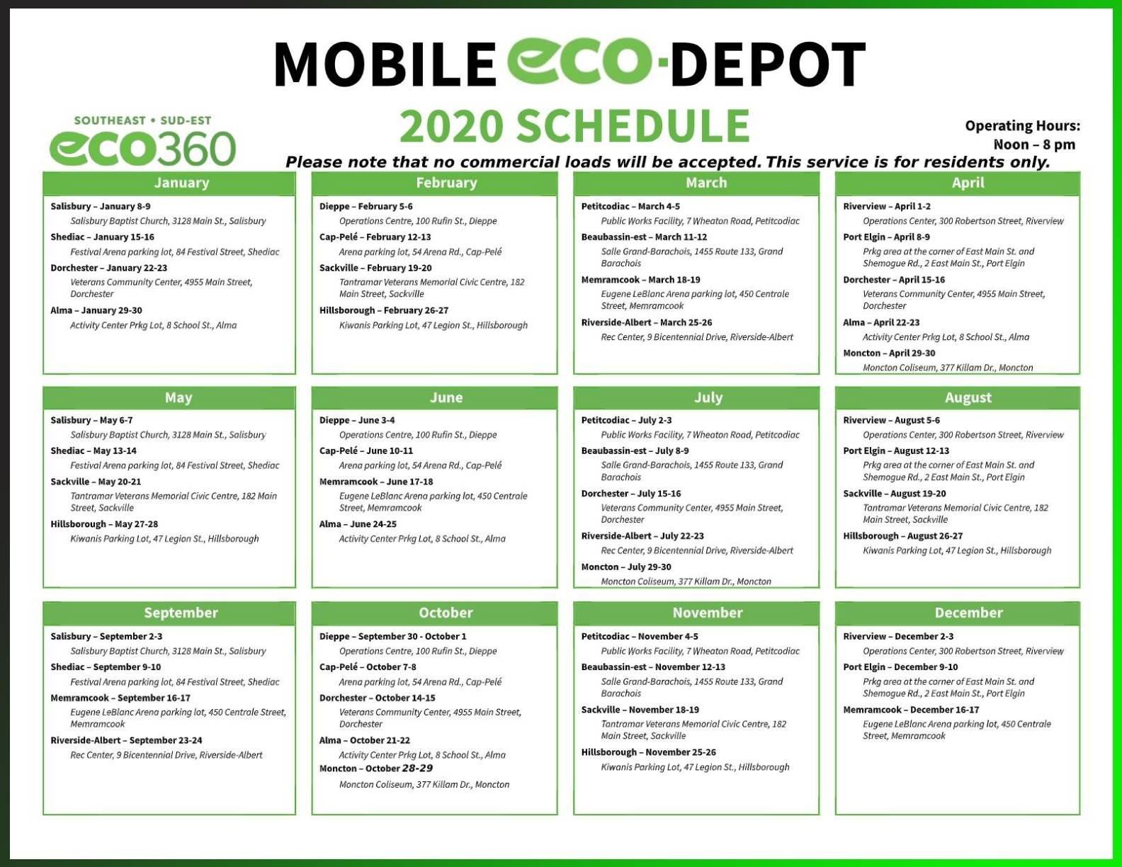 Household Hazardous Waste Dropoff Sched (Mobile Eco Depot  Depot Calendar