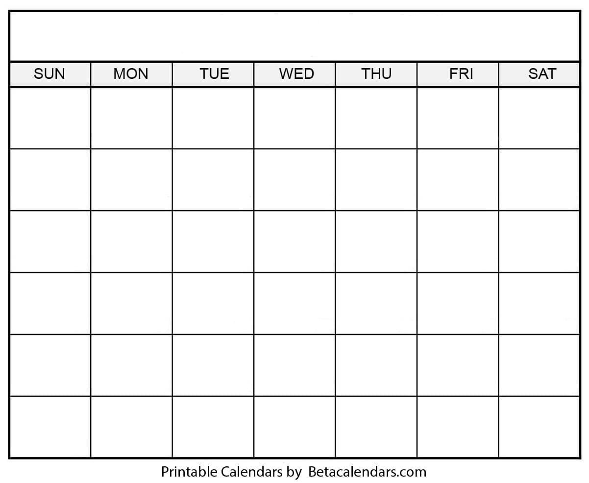 How To Blank 30-Day Calender Printable In 2020   Calendar  Blank 30-Day Calendar