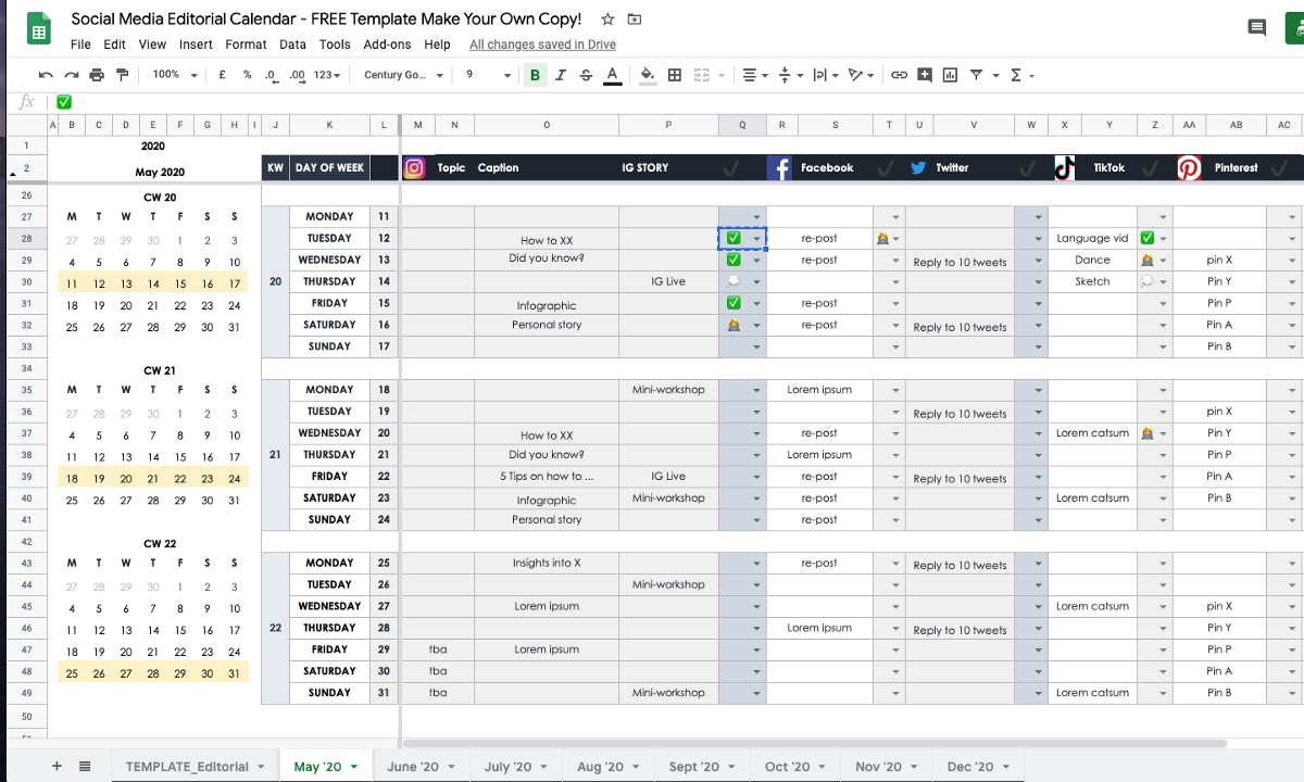 How To Plan Your Social Media In 2020 As An Individual Or  Facebook Monthly Calendar Free Template
