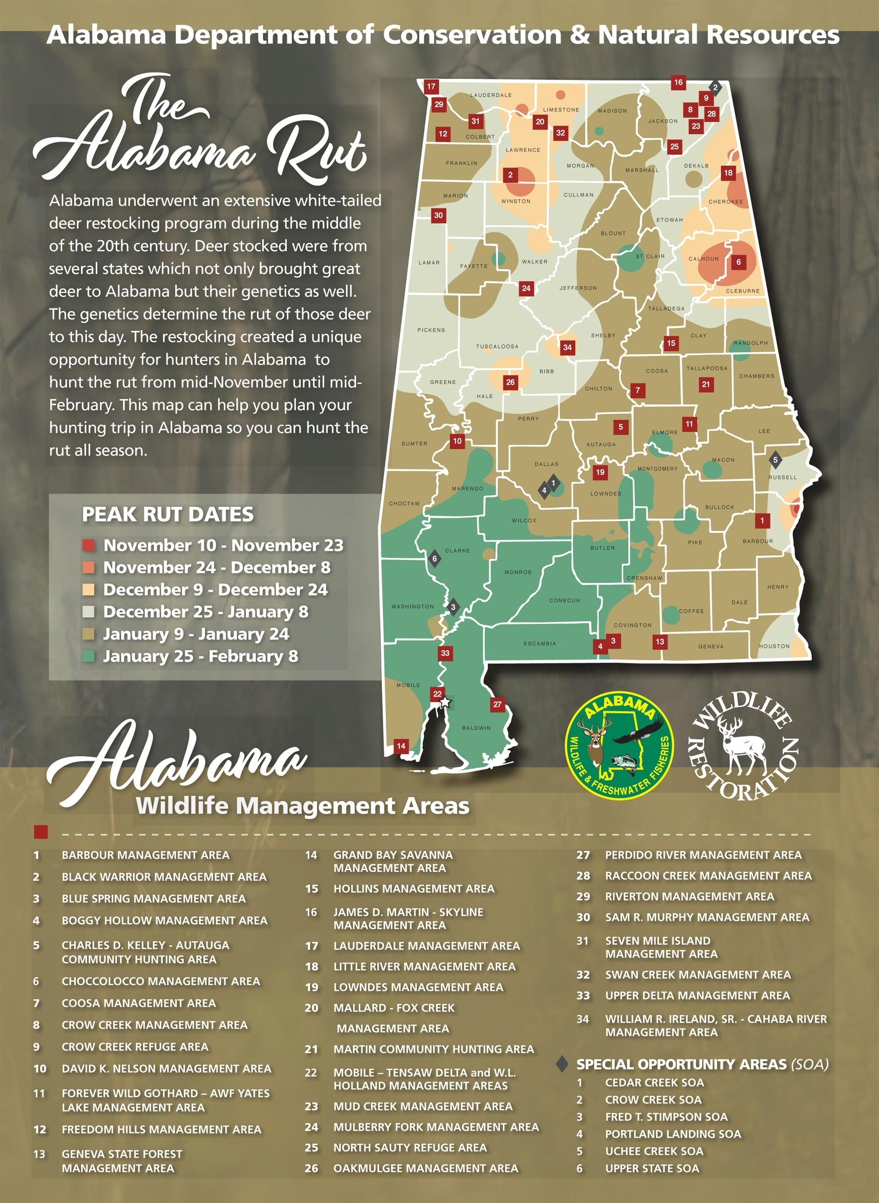 Hunters Can Use The Wff Rut Map To Determine The Likely  White Tail Rut Dates Ga