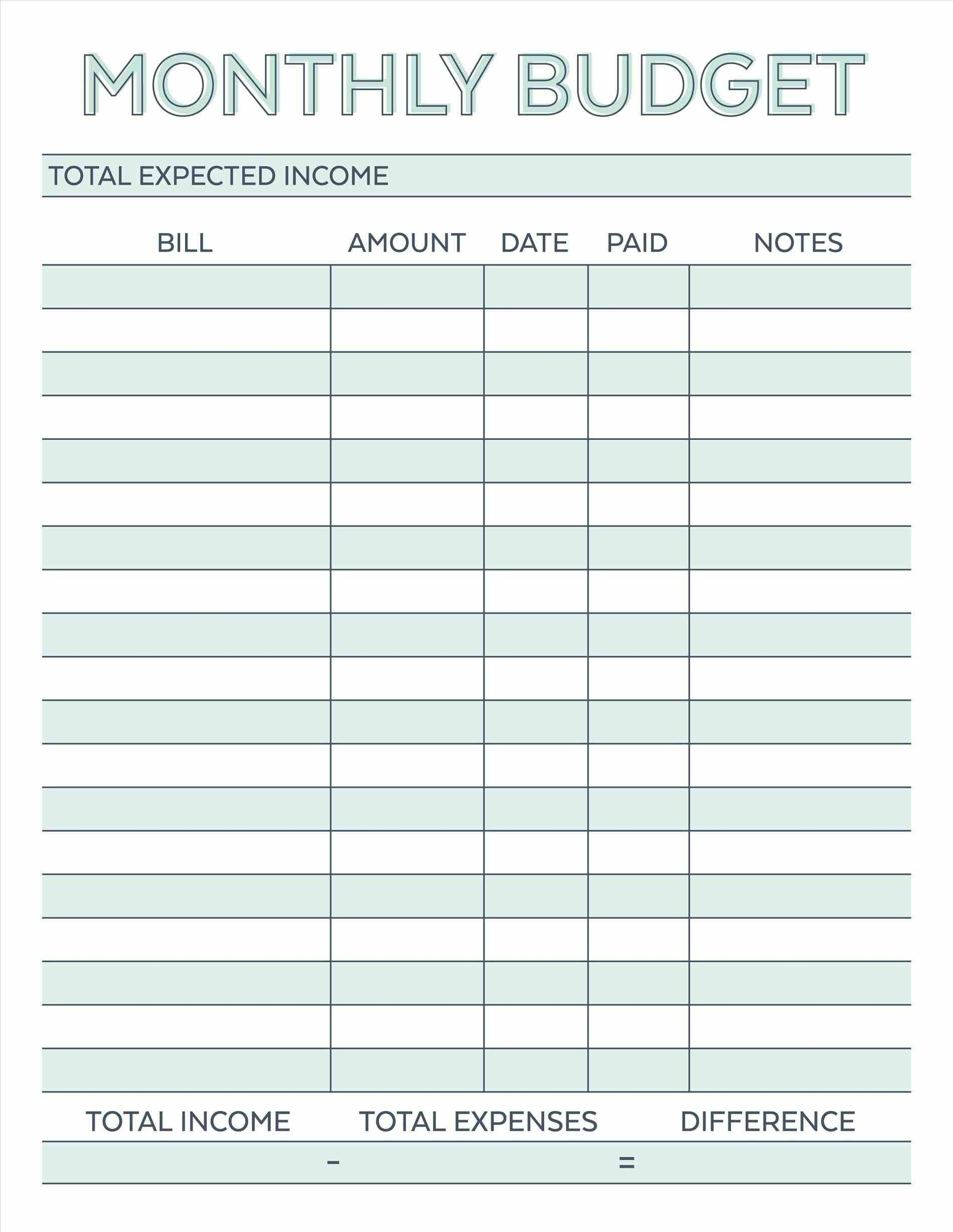 Image Result For Free Monthly Budget Template | Budget  Free Printable Monthly Bill Template
