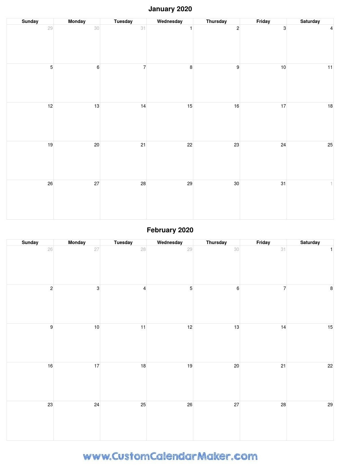 Incredible Free Printable Two Month Calendar In 2020  Two-Month Calendar Printable