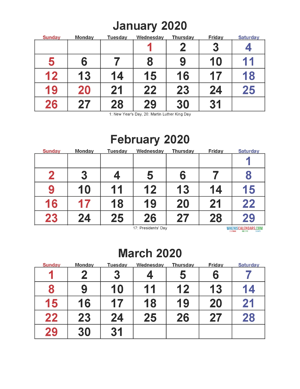 Jan Feb Mar 2020 Calendar 3 Months Per Page | Free Printable  Printable Calendars 3 Months To A Page