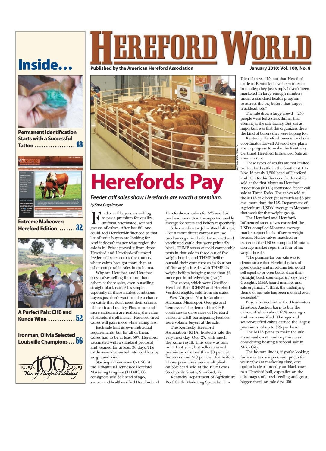 January 2010 Hereford Worldamerican Hereford Association  Wall Calendar Frame Plan - Item 49887
