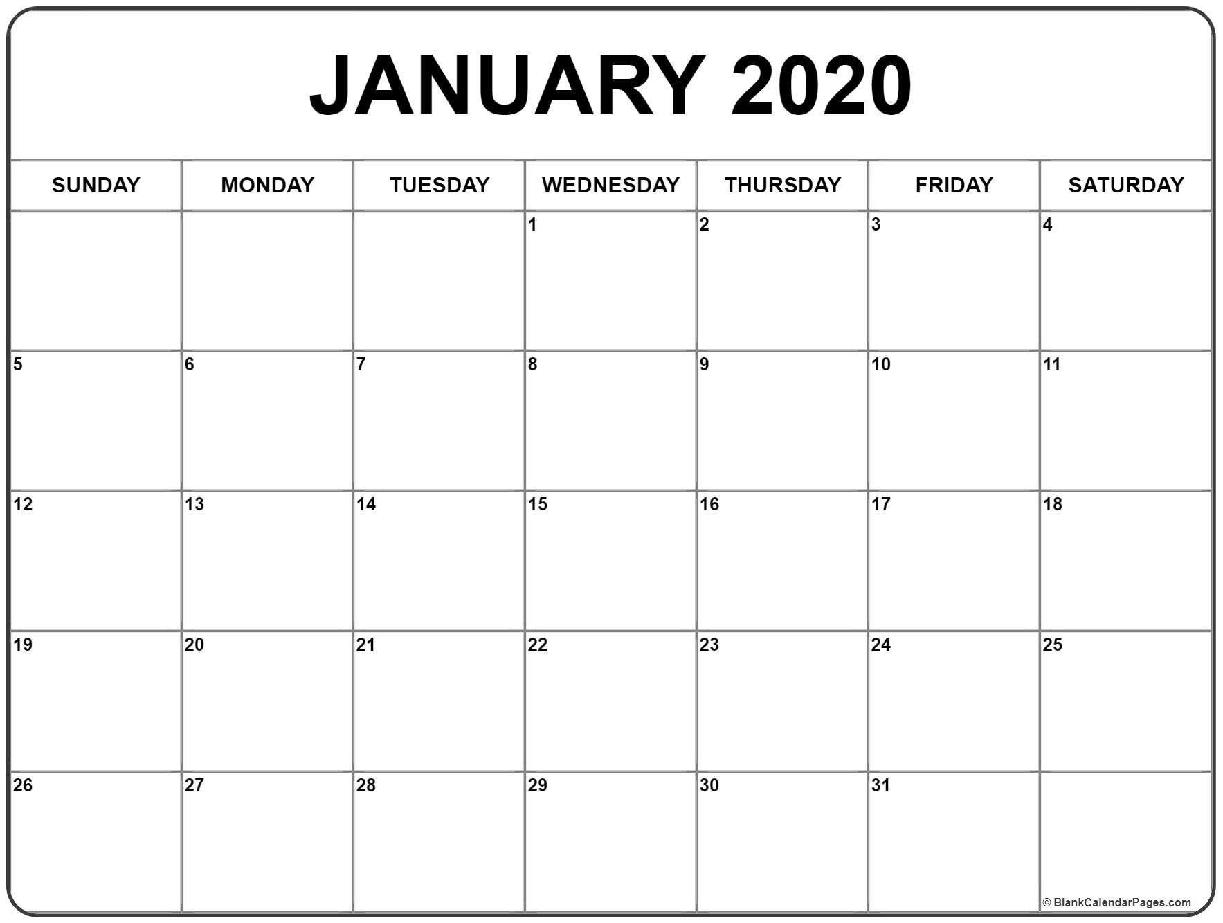 January 2020 Calendar 56 Templates Of 2020 Printable January  Blank Calendar Page Template Preschool