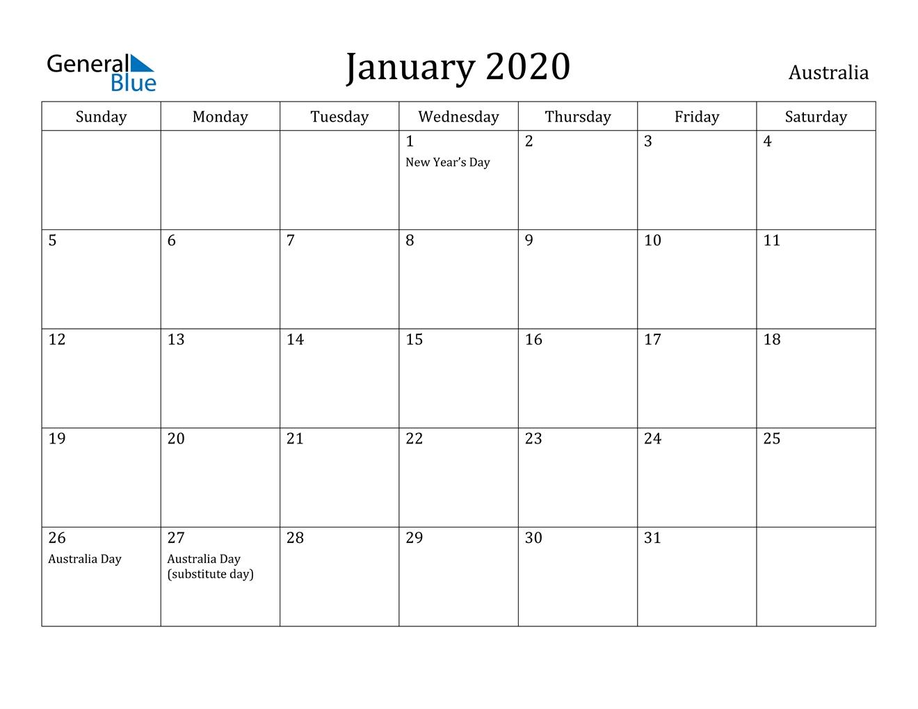 January 2020 Calendar - Australia  Yearly Calendars Australia