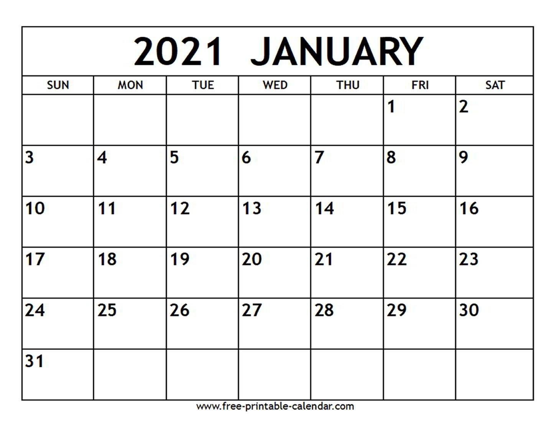 January 2021 Calendar - Free-Printable-Calendar  Calendar 2021 Free Printable